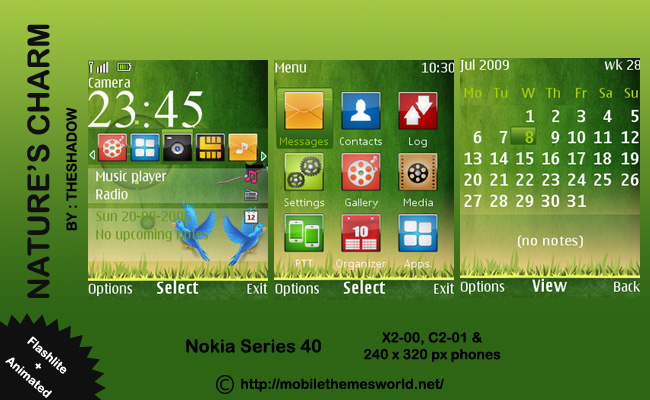 Nature'S Charm 240 x 320px Theme by TheShadow for nokia c2-01, x2-05 phone