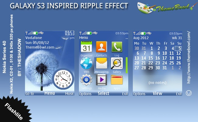 Galaxy S3 Inspired Ripple Effect Dandelion theme for Nokia 5130, C2-01, X2-00 and 240 x 320 px phones