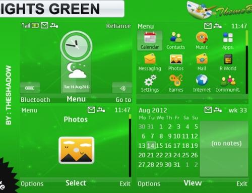 Lights Green theme for Nokia C3, X2-01 & Asha 200, 201, 302 phones
