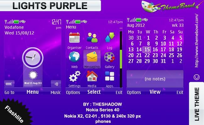 lights purple nokia theme free