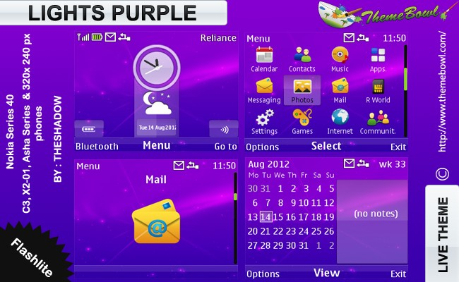 purple lights nokia theme