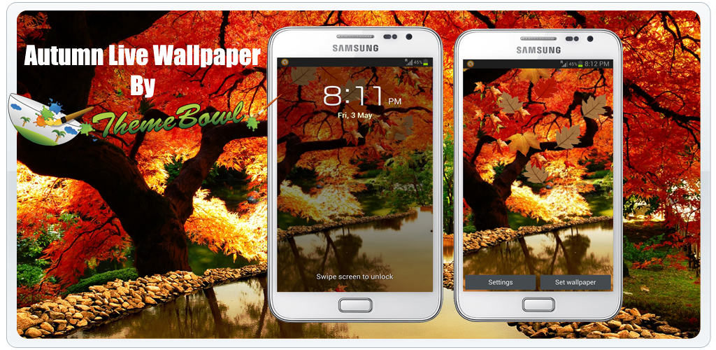 Autumn falling leaves live wallpaper