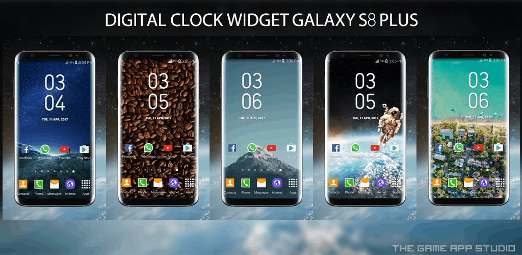 Samsung Galaxy S8 Plus Digital Clock WIdget